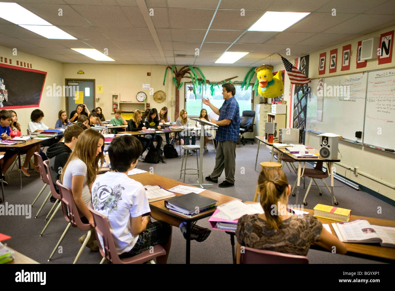 A California Middle School Spanish Teacher In A Classroom