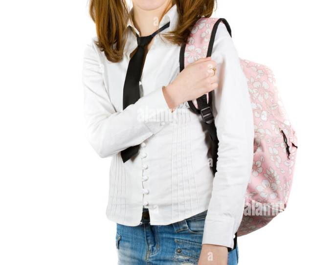 Portrait Of A Blonde Schoolgirl Isolated On White Background
