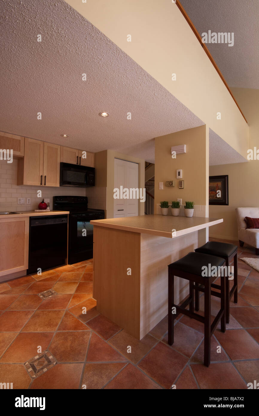 https www alamy com stock photo elegant kitchen with santa fe tile flooring and smooth pine cupboards 28499914 html