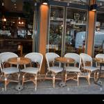 Paris France Outside Scene Empty Parisian Cafe Tables Chairs In Stock Photo Alamy