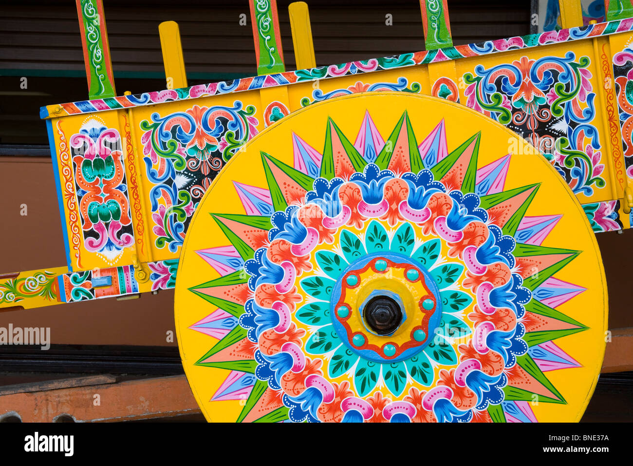 Costa Rican Ox Cart Coloring Page
