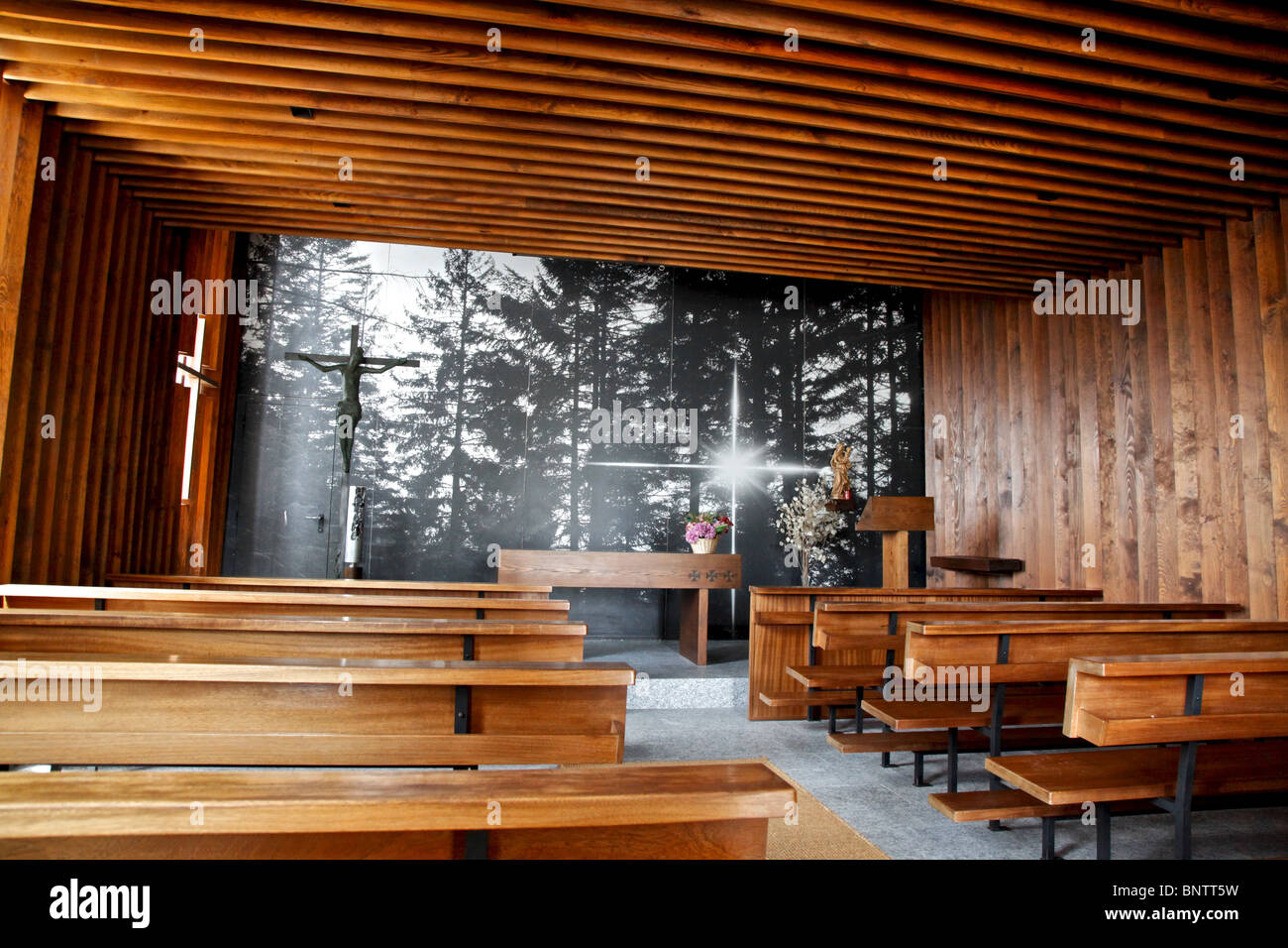 Inside A Modern Catholic Church In Swiss Mountains Stock