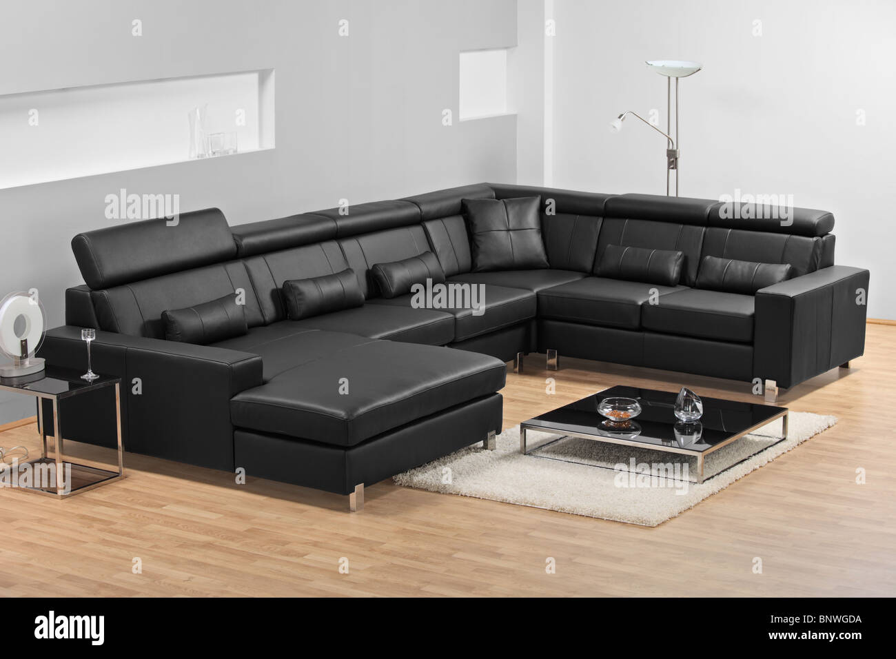 https www alamy com stock photo a view of a modern apartment with black leather sofa 30679862 html