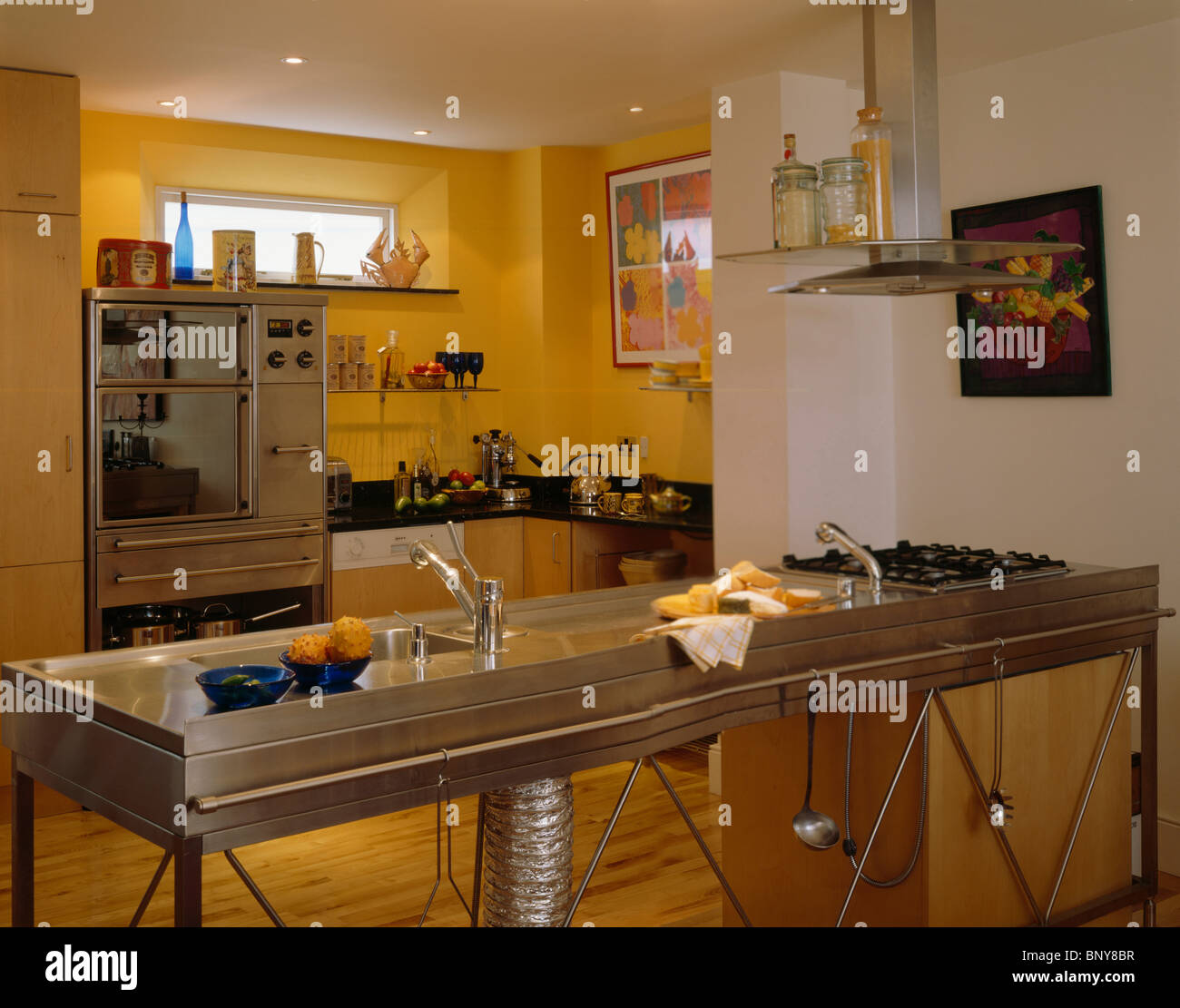 https www alamy com stock photo stainless steel freestanding double sink and hob unit in modern yellow 30717451 html