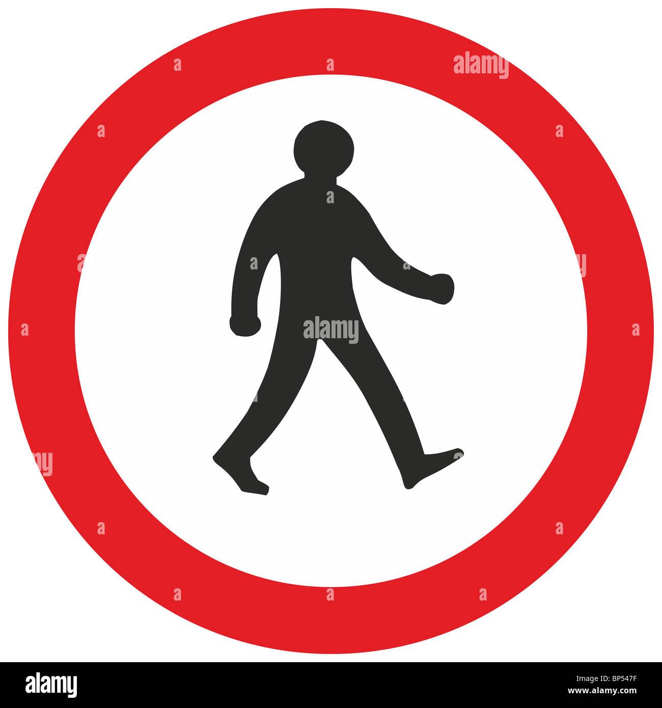 Uk Road Sign Pedestrians Banned Walking Walkers Pedestrian