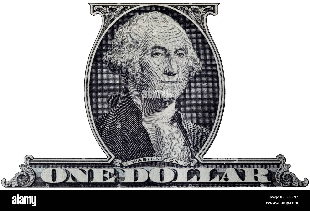One Dollar Bill Cutout With Portrait Of American President