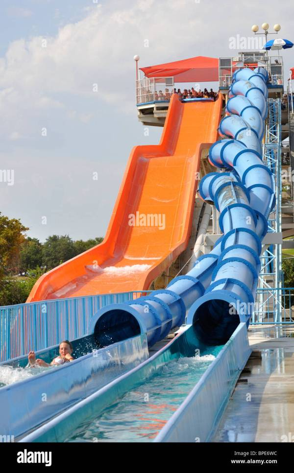 Water slide at Hurricane Harbor waterpark , Six Flags Over ...