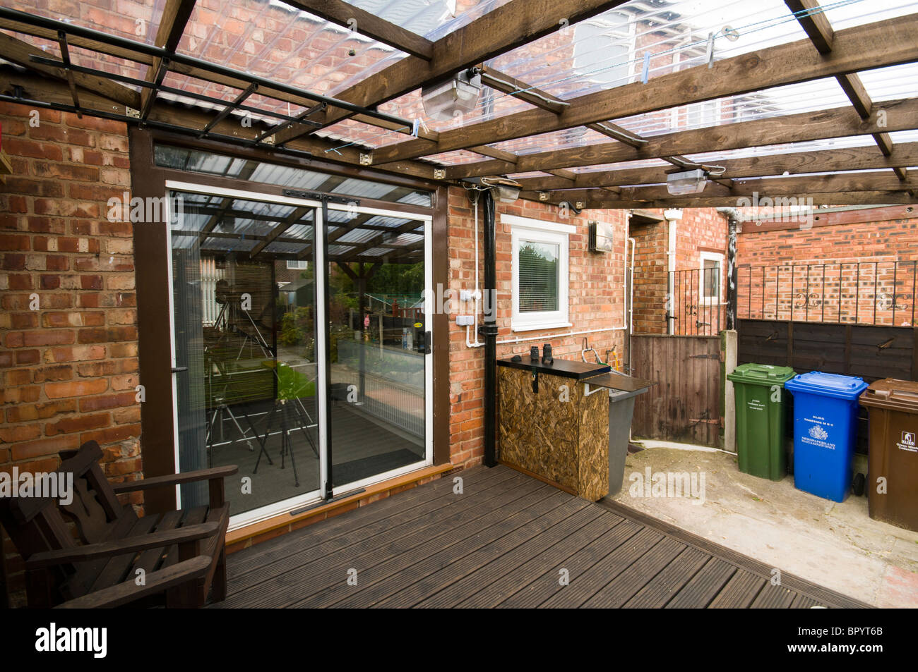 https www alamy com stock photo home built patio decking with corrugated plastic roofing and movable 31344499 html