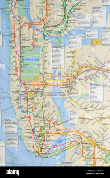 New York city subway and bus map Stock Photo  31387727   Alamy New York city subway and bus map