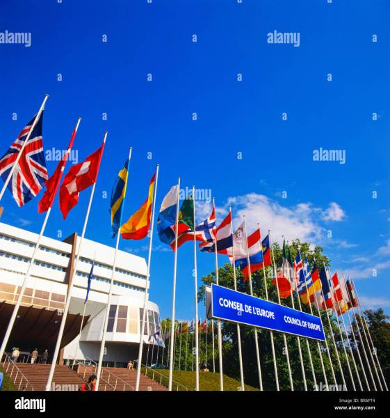 Flags of European countries in front of the Council of Europe Stock     Flags of European countries in front of the Council of Europe building   Palais de l Europe  Strasbourg  Alsace  France