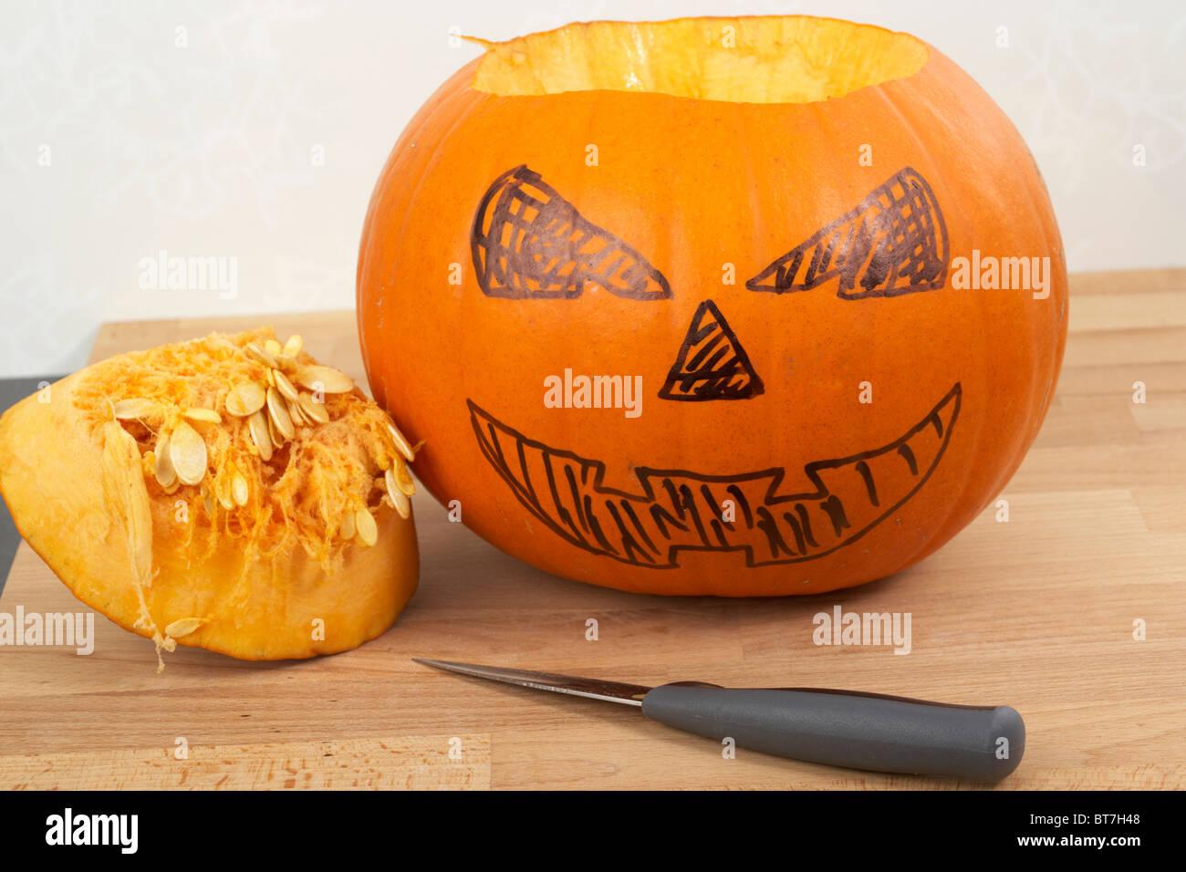 Cutting Halloween Pumpkin Stock Photos Amp Cutting Halloween