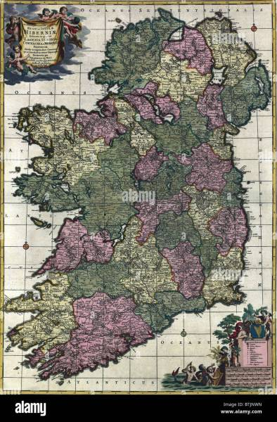 Map of Ireland from 18th century  showing counties  when all of     Map of Ireland from 18th century  showing counties  when all of Ireland was  under British rule