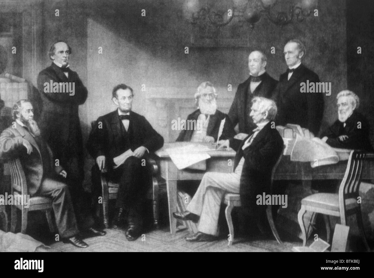 President Abraham Lincoln Reading The Emancipation