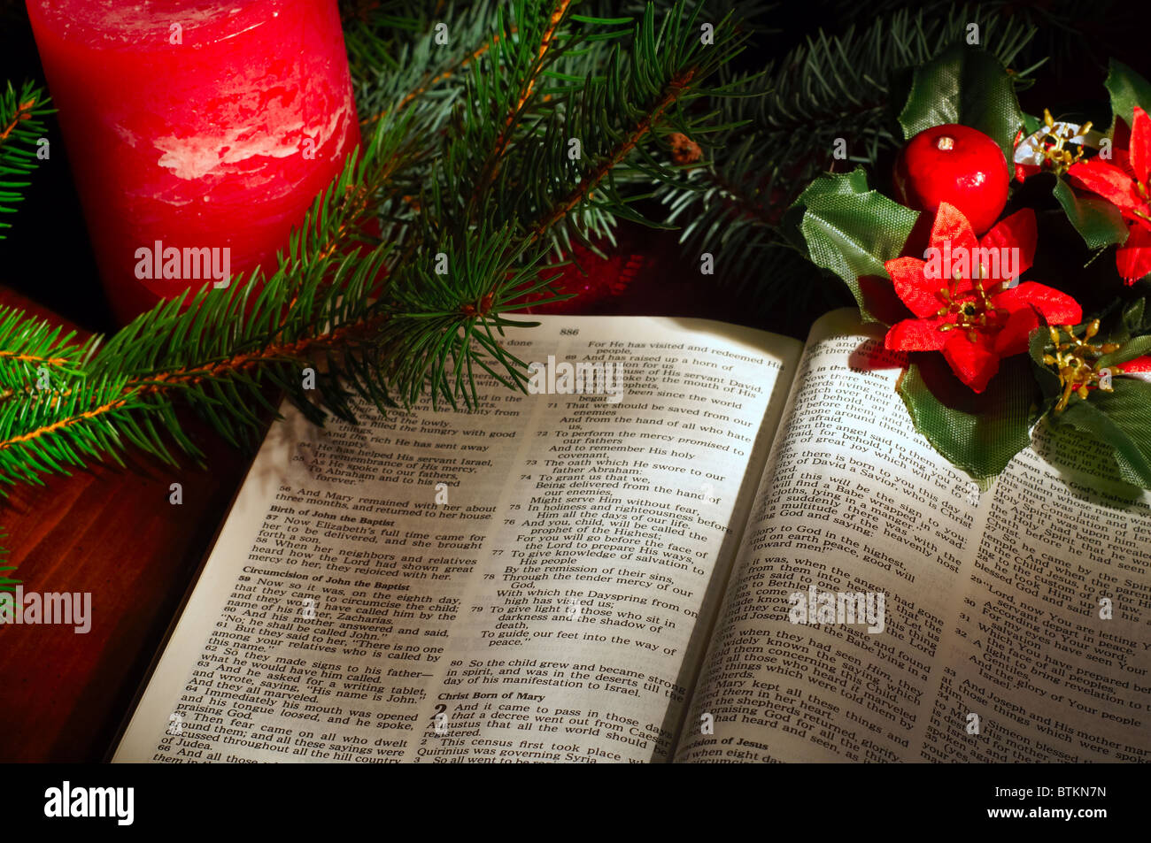 Bible Open To The Christmas Passage Of Luke 2 With