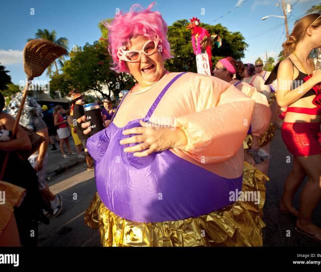 Costumed Revelers During Fantasy Fest Halloween Parade In Key West Florida