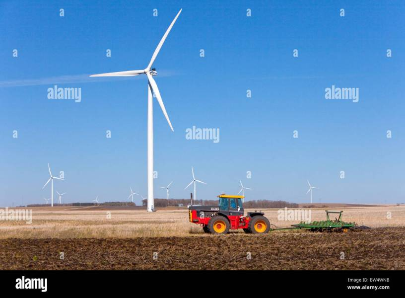 A tractor working the field next to an electric wind turbine at the     A tractor working the field next to an electric wind turbine at the wind  farm near St  Leon  Manitoba  Canada