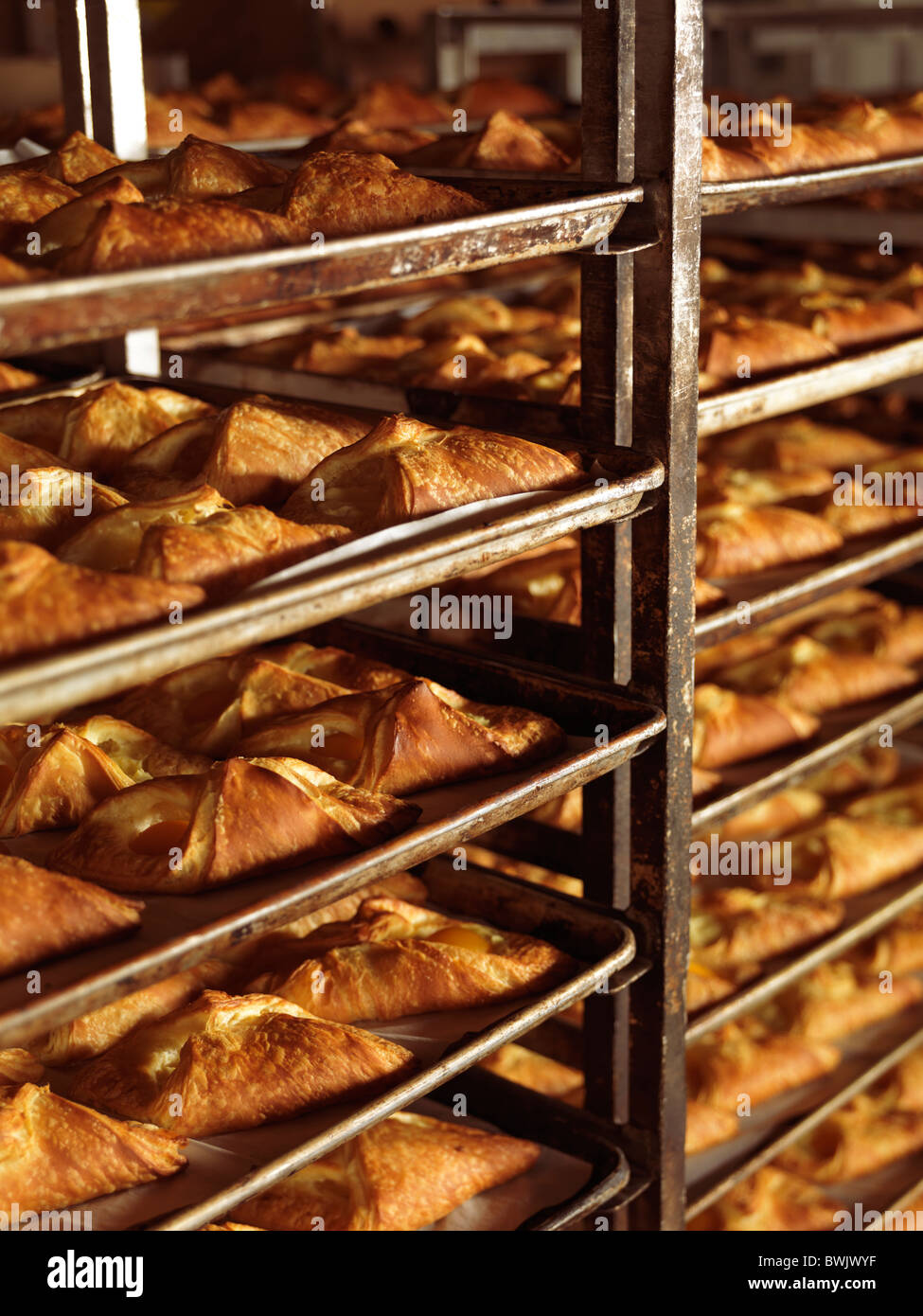 https www alamy com stock photo freshly baked pastries on baking trays in bakery rack trolleys 32992275 html