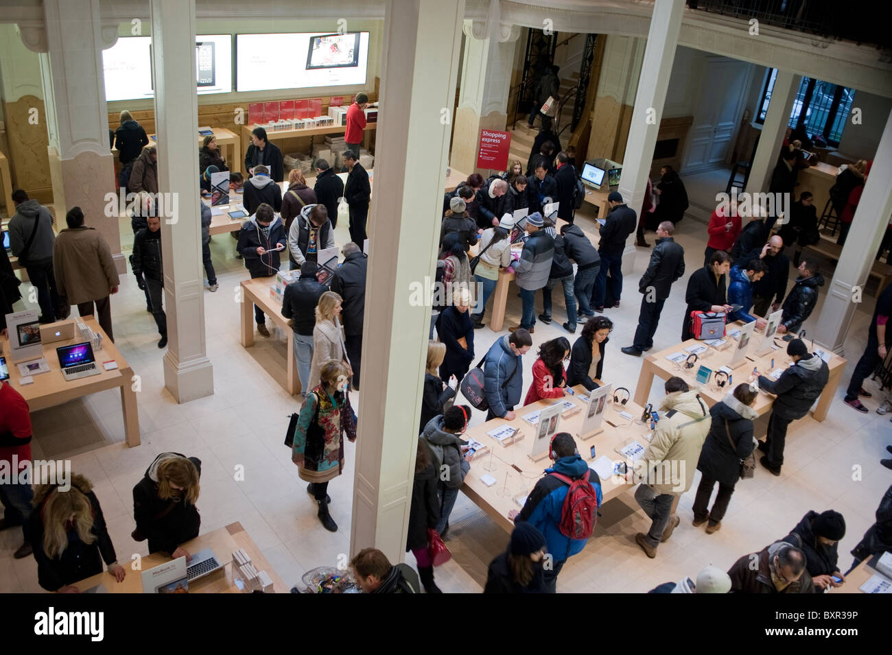 Paris  France  People Shopping   Apple Store    Opera   Inside Stock     Paris  France  People Shopping   Apple Store    Opera   Inside  Aerial View