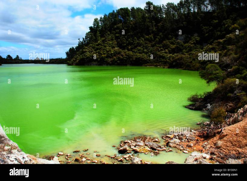 Emerald green lakes in Wai o tapu in New Zealand Stock Photo     Emerald green lakes in Wai o tapu in New Zealand