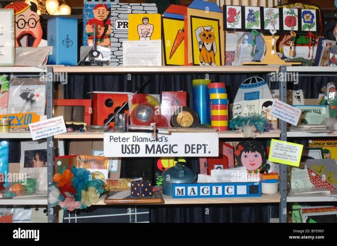 Magic tricks shop and props Stock Photo - Alamy
