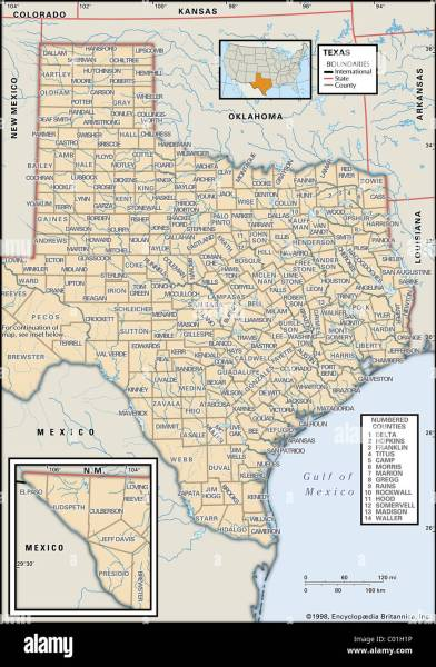 Map Of Texas Stock Photos   Map Of Texas Stock Images   Alamy Political map of Texas   Stock Image