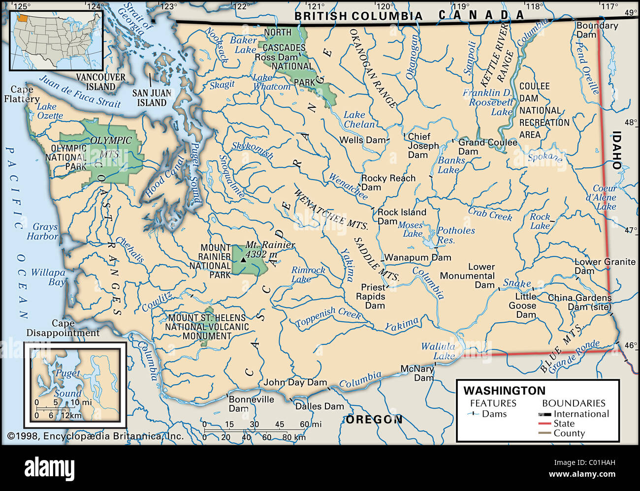 Map of Washington State Stock Photo  34456313   Alamy Map of Washington State