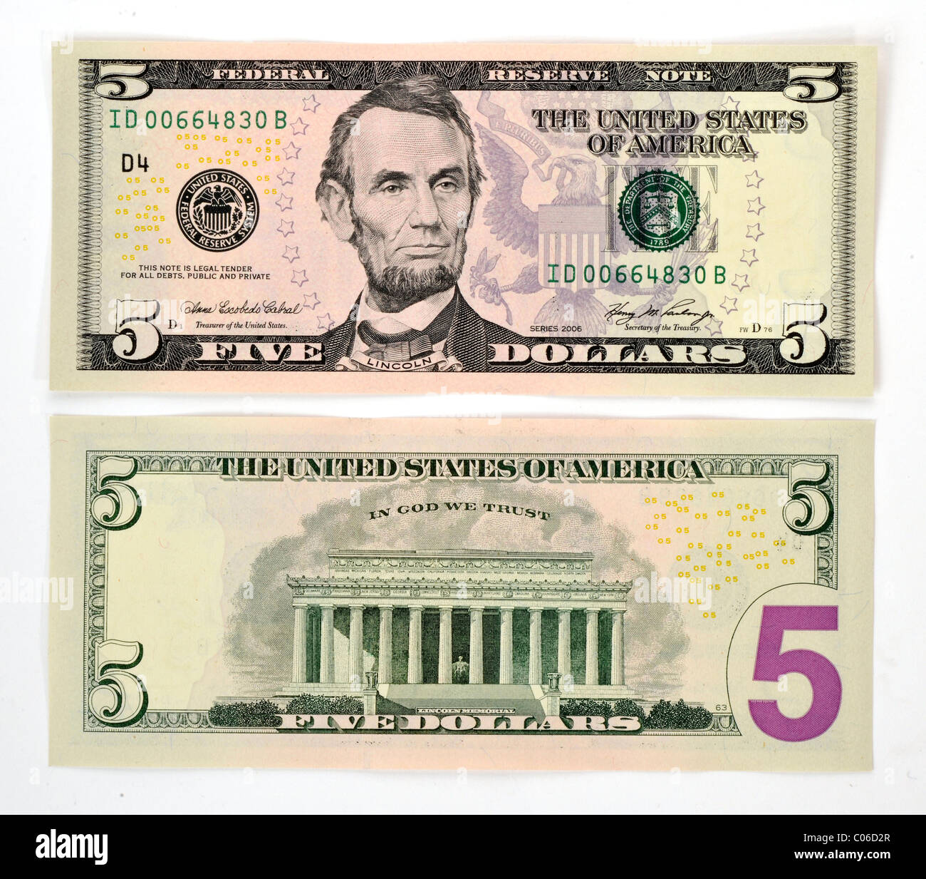 5 U S Dollar Banknote Front And Back Stock Photo