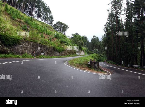 Hairpin bend in the road in the hilly area, Sri Lanka ...