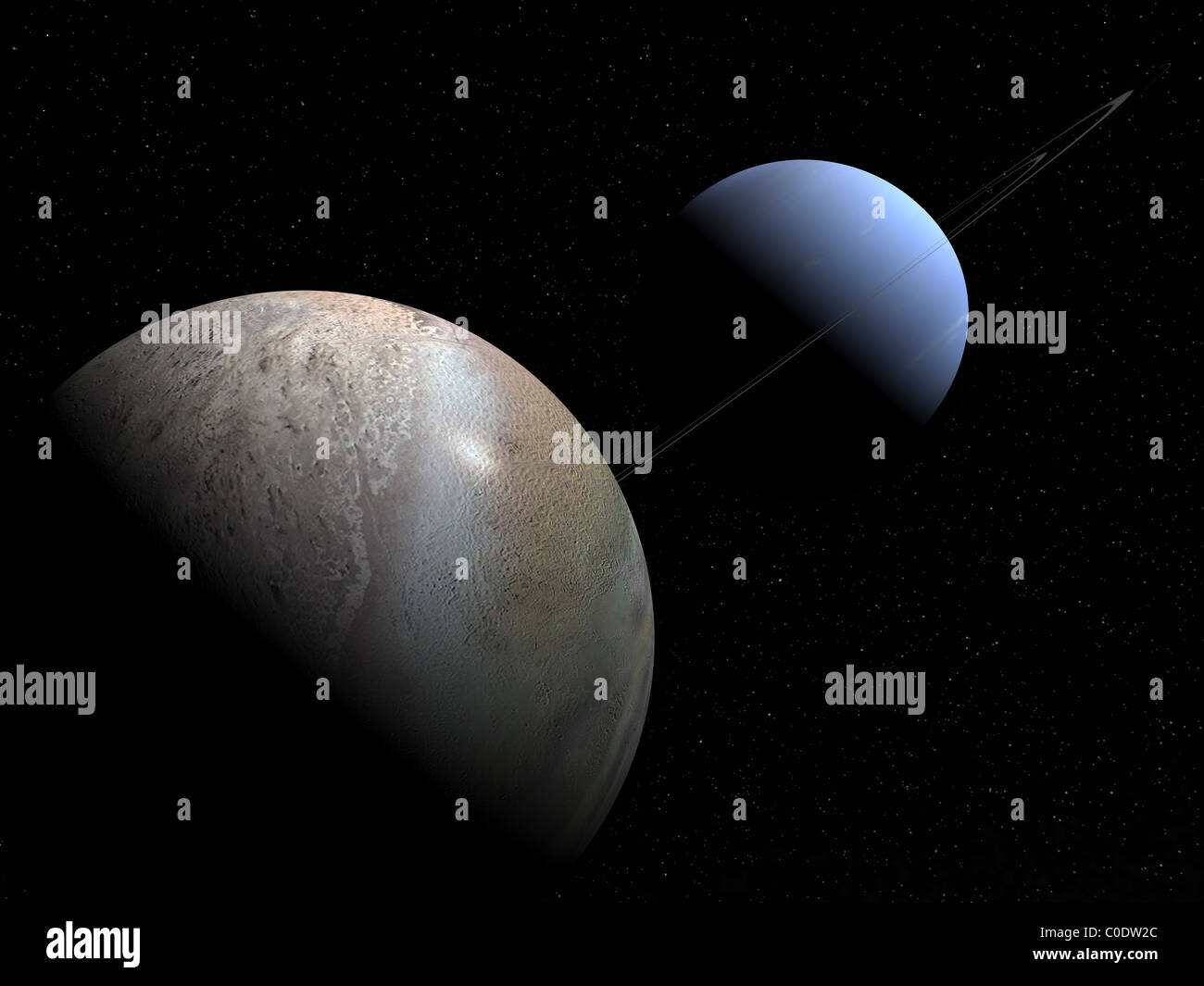 Illustration Of The Gas Giant Planet Neptune And Its