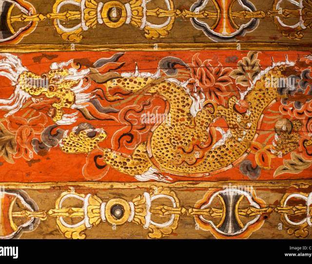 Thunder Dragon Design On A Chorten In Thimpu Symbolizing The Nation And People Of Bhutan