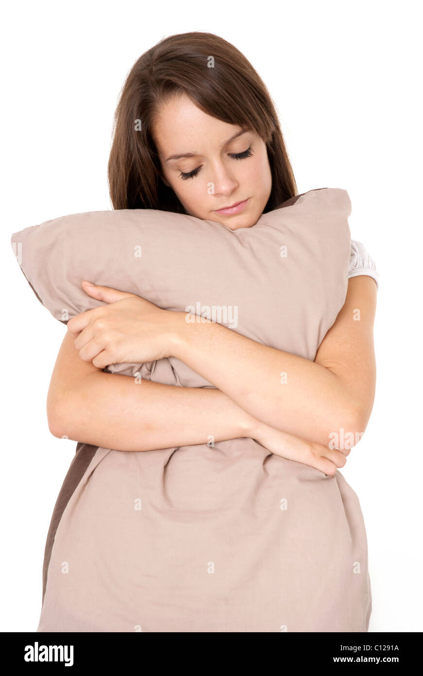 https www alamy com stock photo girl hugging pillow isolated on white 35086390 html