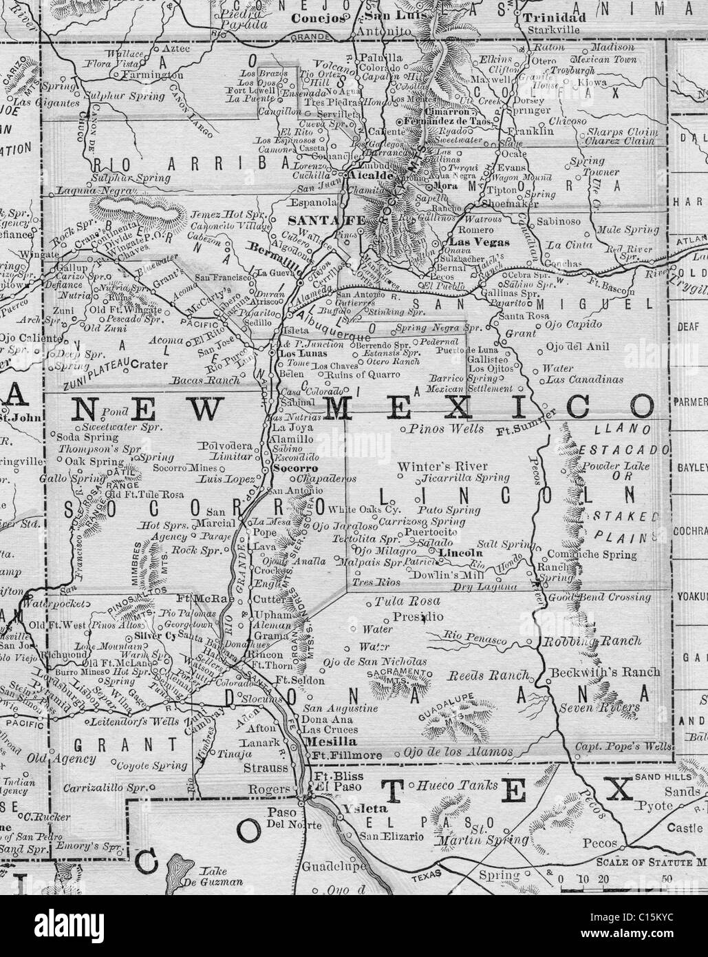 Old Map Of New Mexico From Original Geography Textbook