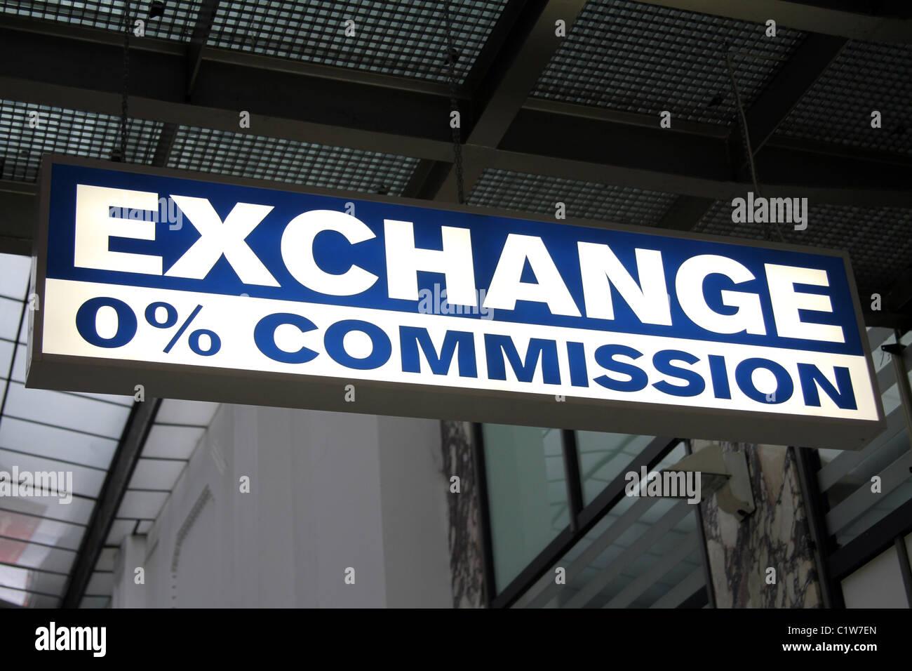 bureau de change 0 commission money exchange sign in prague czech republic