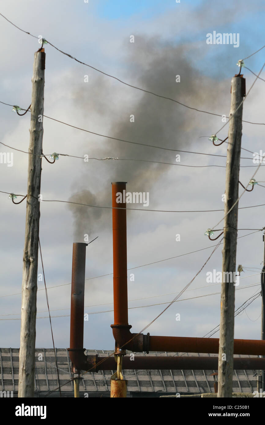 https www alamy com stock photo black smoke from the exhaust pipe of a stationary diesel generator 35760117 html
