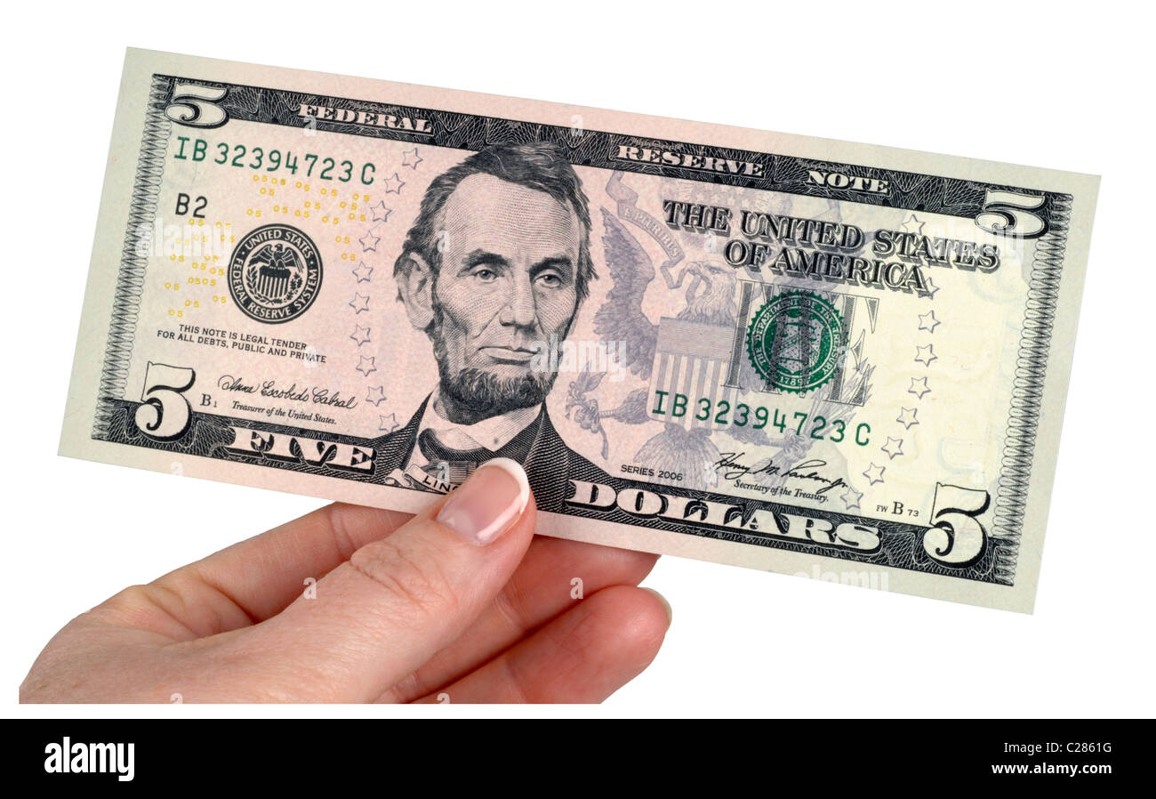 5 Dollar Note Dollars Money American Banknotes Five