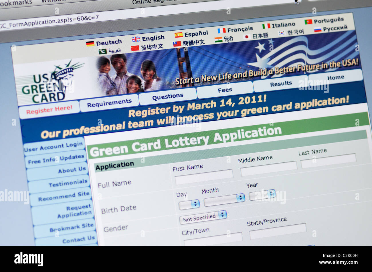 The lottery is administered by the department of state and conducted under the immigration and nationality act (ina). Usa Green Card Lottery Application Website Stock Photo Alamy
