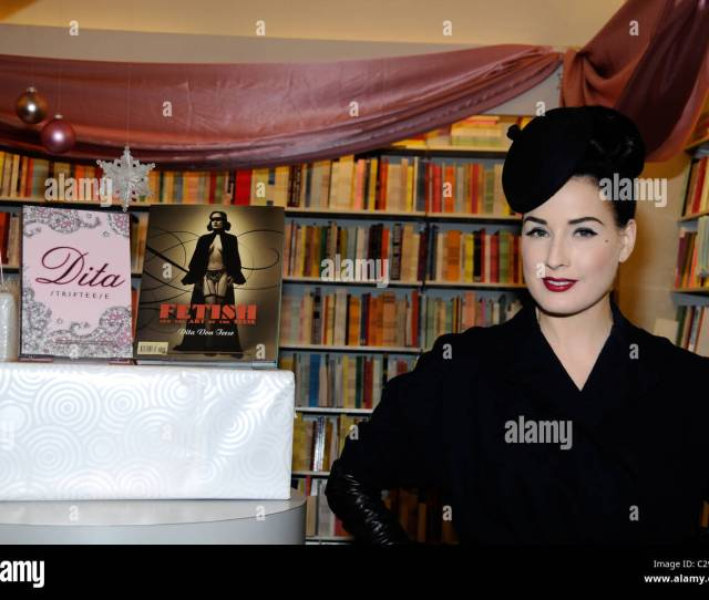 Dita Von Teese Signs Copies Of Her New Book Dita Striptease At Samuel French Bookstore Los Angeles California