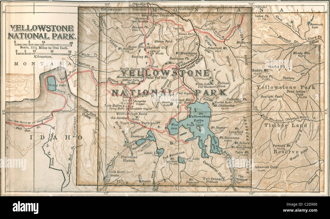 Map Of Yellowstone National Park Stock Photo