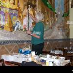 Artist Painting Mural On The Wall Of An Italian Restaurant Notting Stock Photo Alamy
