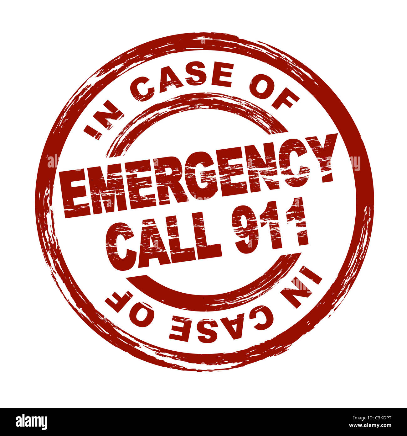 Stylized Red Stamp Showing The Term Emergency Call 911 All On White Stock Photo