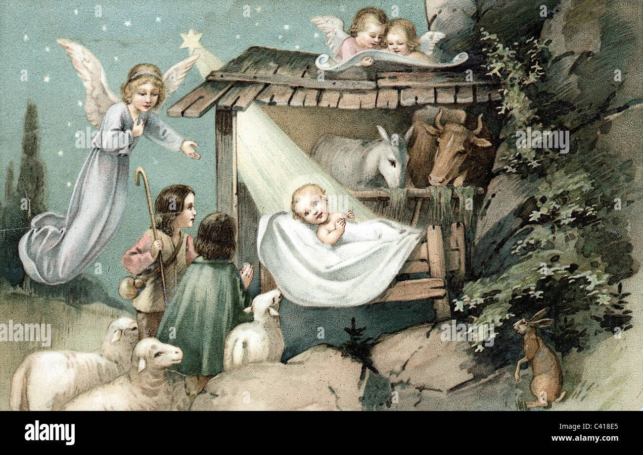 Kitsch Postcards Christmas Baby Jesus In The Cradle