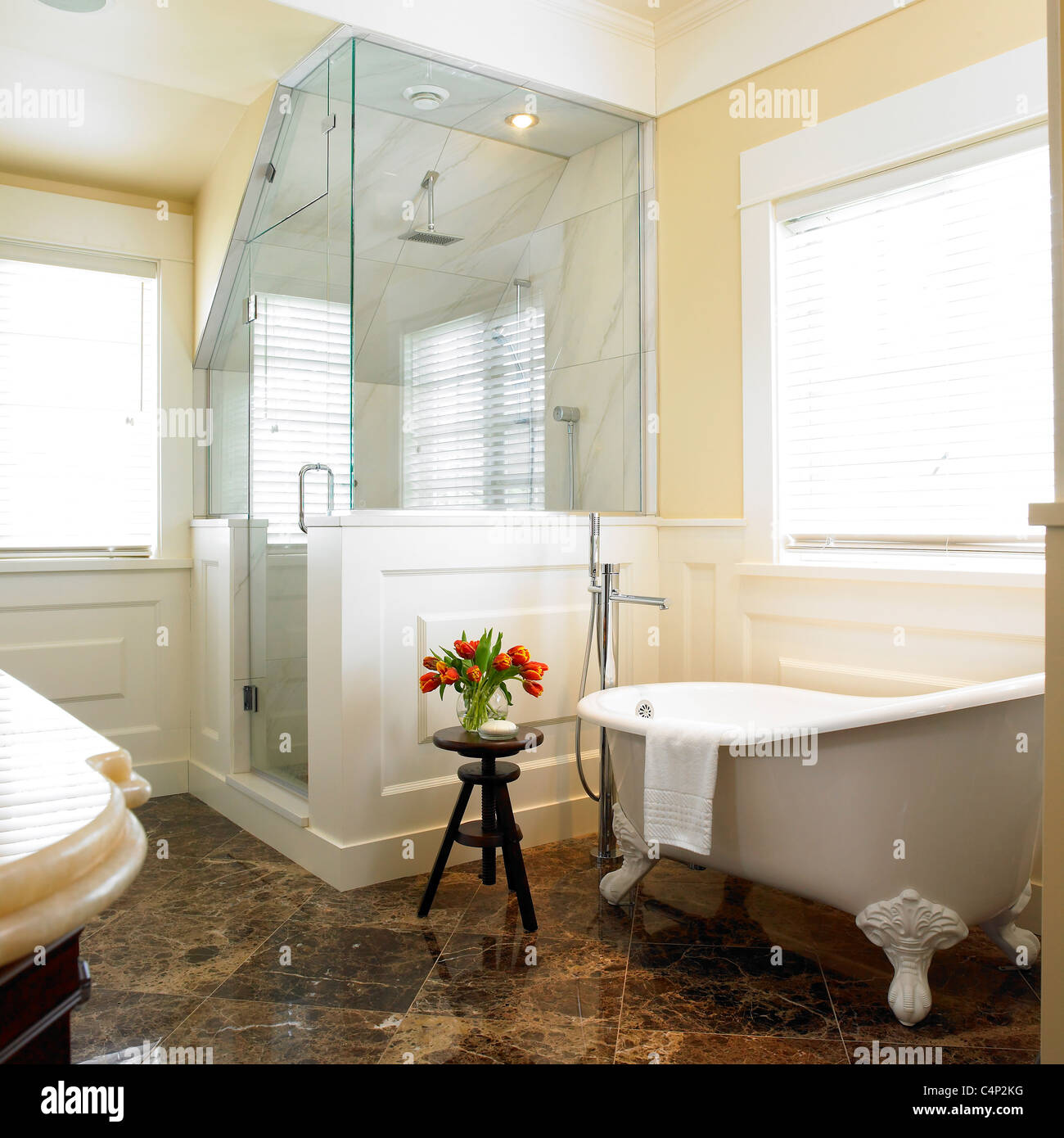 Bathroom With Corner Shower Stall And Clawfoot Tub Victoria