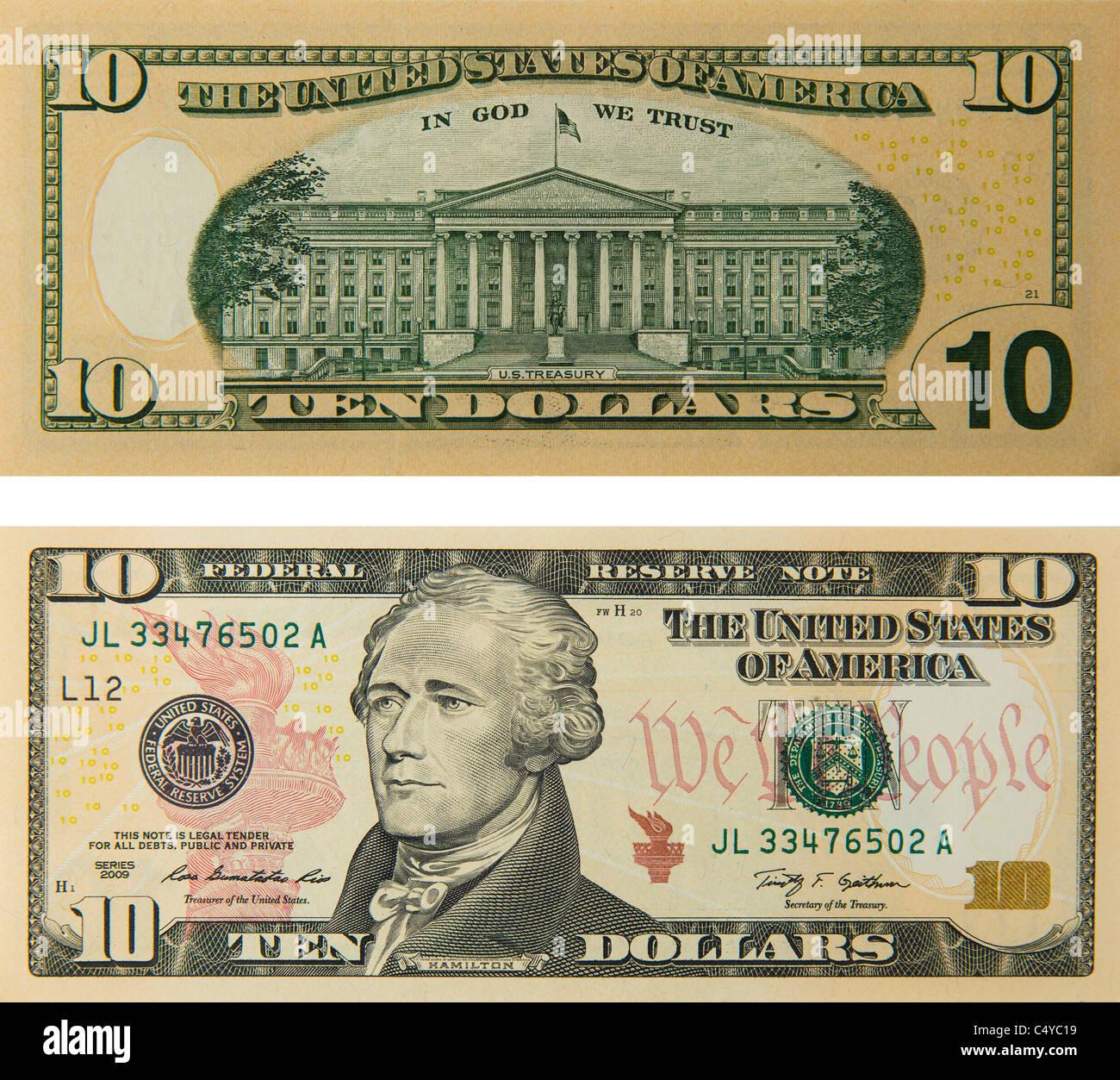 10 Ten Dollar Bill Note Bill S Note S Dollars Stock Photo