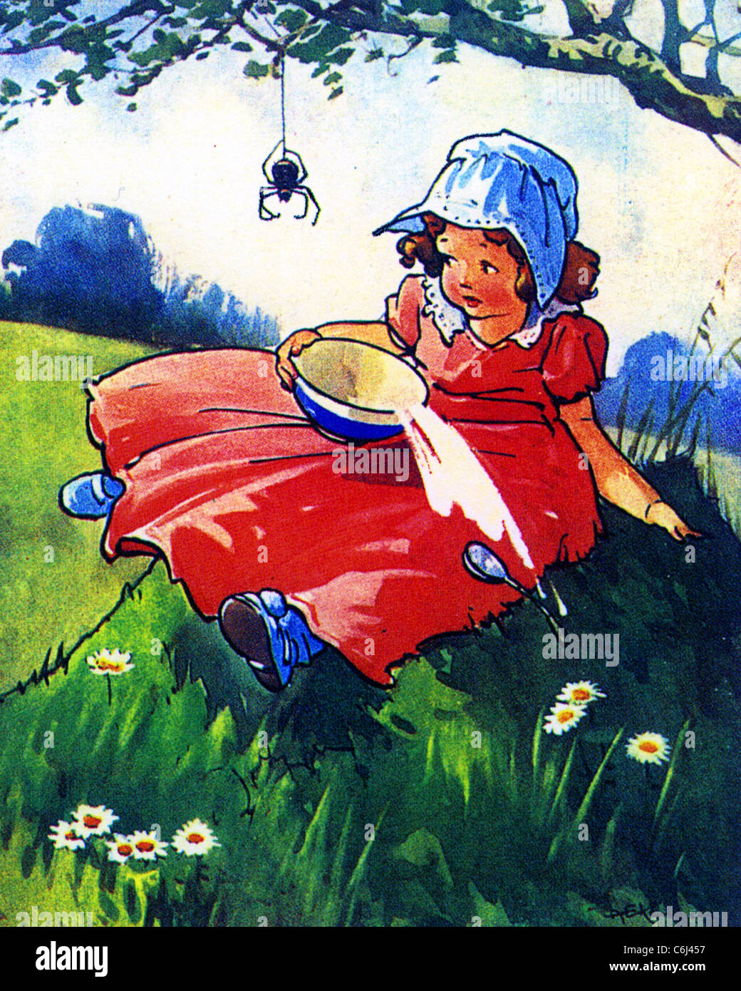 Little Miss Muffet Nursery Rhyme Stock Photo
