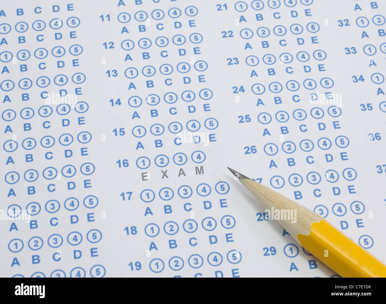 A Blue Bubble Or Scantron Sheet With A Number Two Yellow