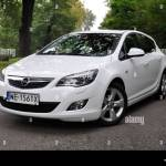 Opel Astra Iv 1 4 Turbo My 2009 White German Compact Car Stock Photo Alamy