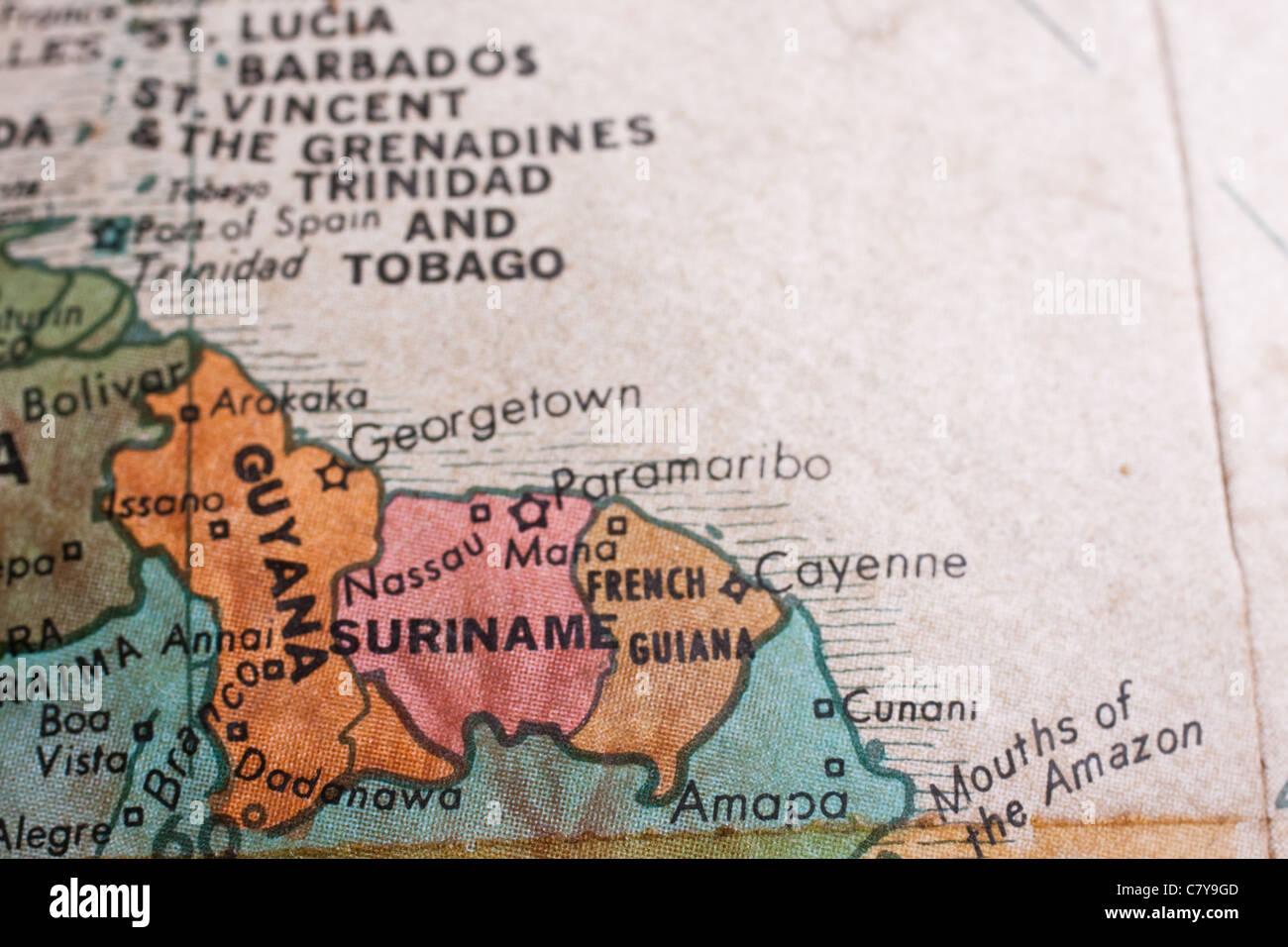 Advertisement map of guyana south america