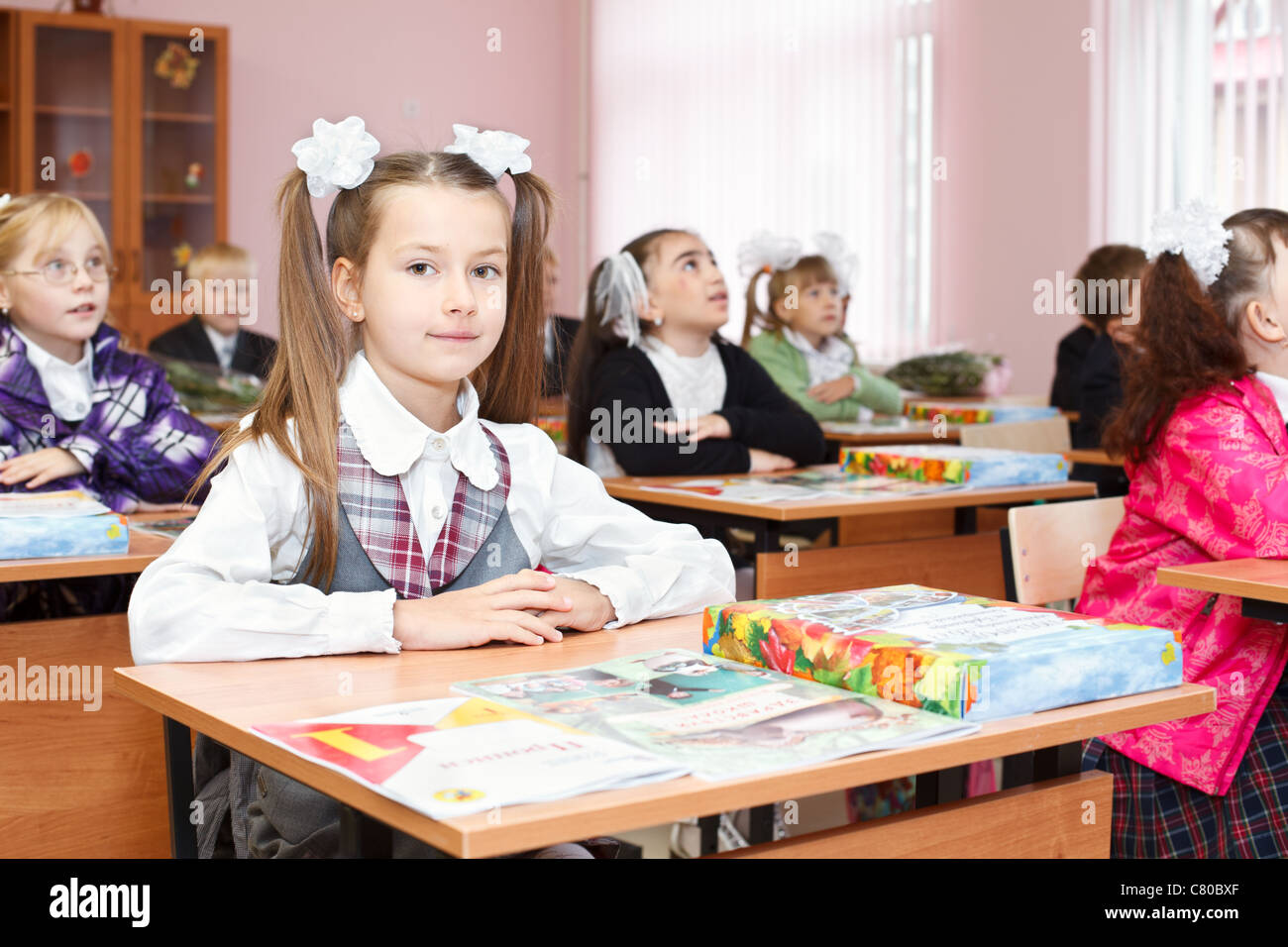 A Russian Pupils In A Lesson In First Grade In Elementary