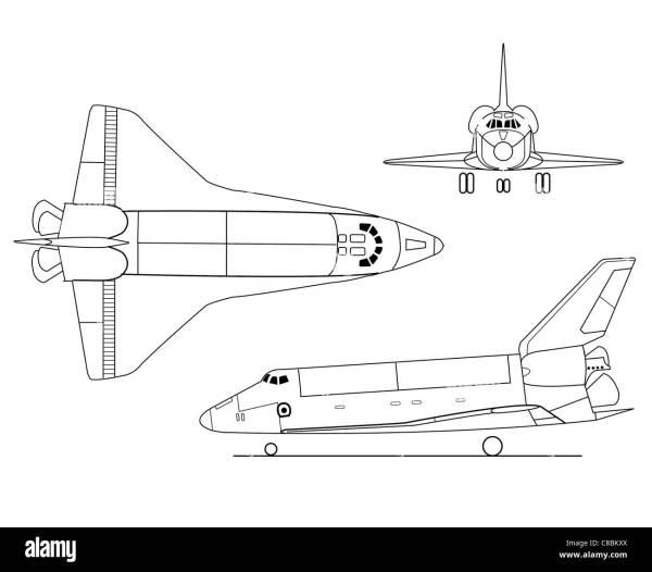 3 view aircraft line art drawing STSSpace Shuttle Stock