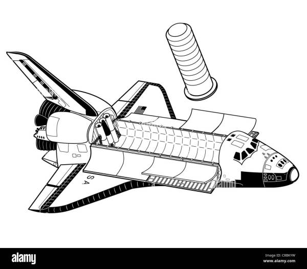 3 view aircraft line art drawing STS Space Shuttle Stock